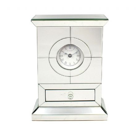 Leonardo Mirrored Crystal Mantel Clock with Mini Drawer